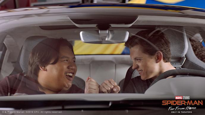 Spiderman Drives Audi e-tron GT to a Science Fair